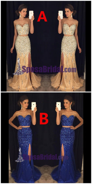 Beading Two Pieces Side Split Gorgeous Prom Dresses, Sparkly Fashion Blue Prom Dresses, PD0623