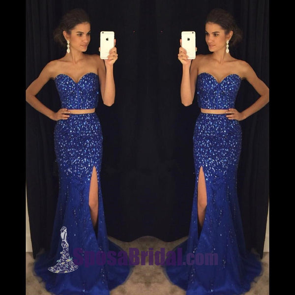 Beading Two Pieces Side Split Gorgeous Prom Dresses, Sparkly Fashion Blue Prom Dresses, PD0623 - SposaBridal