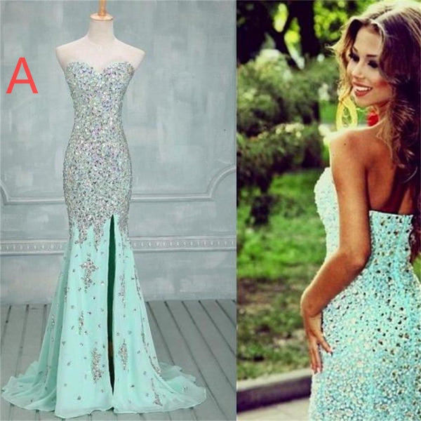 Mint Long Mermaid Sweetheart Sparkle Popular Custom Prom Dresses Online,PD0113