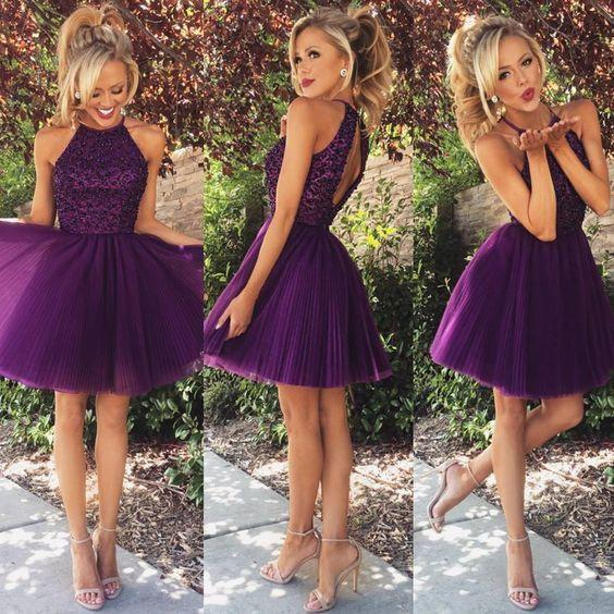 Beaded  Purple Sexy Open back Halter homecoming prom dresses, CM0022 - SposaBridal