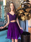 Sexy Two Pieces Cap Sleeves Cheap Short Homecoming Dresses Online, CM529