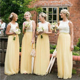 Long Yellow Chiffon Cheap Sleeveless Lace Top Simple Bridesmaid Dresses  , PD0263