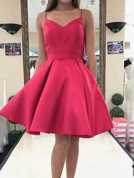 Cheap Simple Watermelon Spaghetti Straps Red Homecoming Dresses, CM453 - SposaBridal