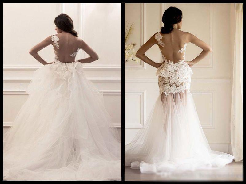 Strapless Mermaid Wedding Gown: Two Pieces Strapless Gorgeous Lace Wedding Dresses