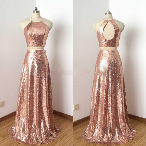 Charming Rose Gold Sequin Two Pieces Long Popular Fashion