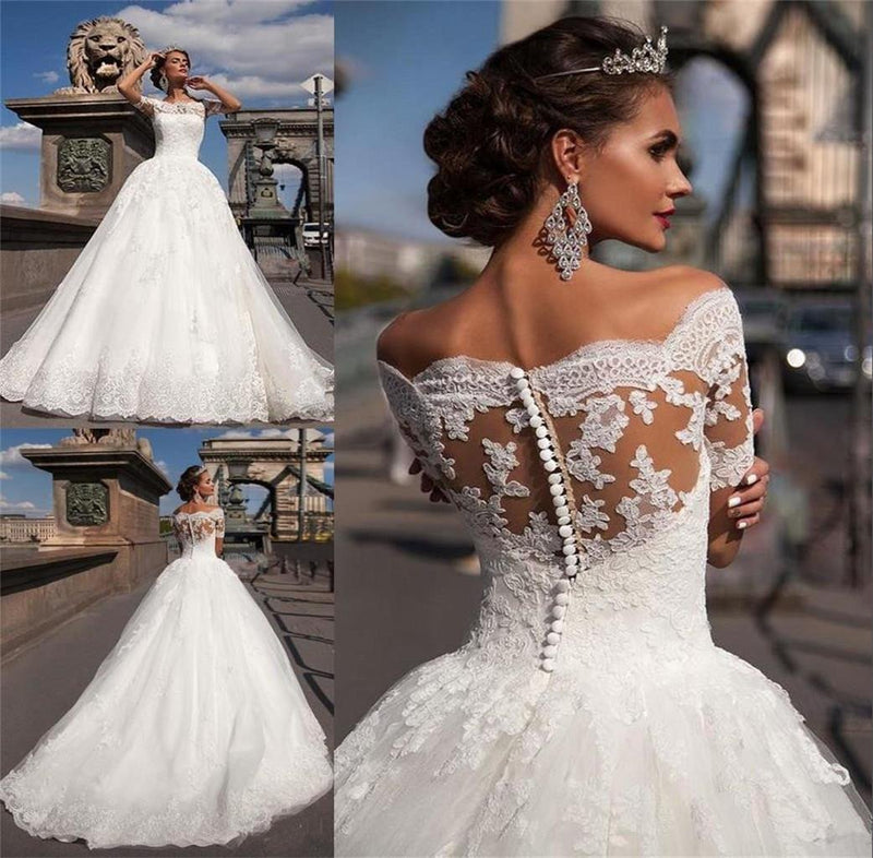 Sexy V-neck Mermaid White Lace Tulle Wedding Dress, Long Sleeve Wedding Gown  ,WD0012