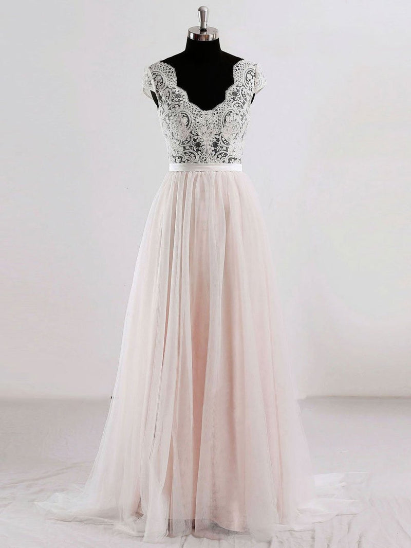 Cap Sleeves V Neck See Through A-line Cheap Wedding Dresses Online, WD342 - SposaBridal