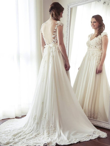 bbf30512c929 Sexy See Through Cap Sleeve A-line Chiffon Beach Wedding Dresses Online,  WD352