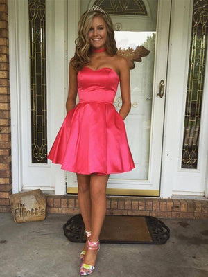 Sweetheart Simple Cute Cheap Short Red Homecoming Dresses Under 100