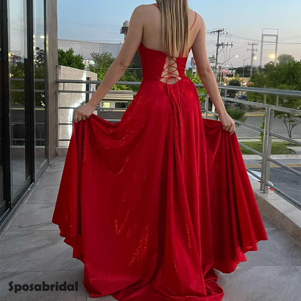 Charming Square Neck Spaghetti Strap Side Slit A-line Long Prom Dress, PD3048