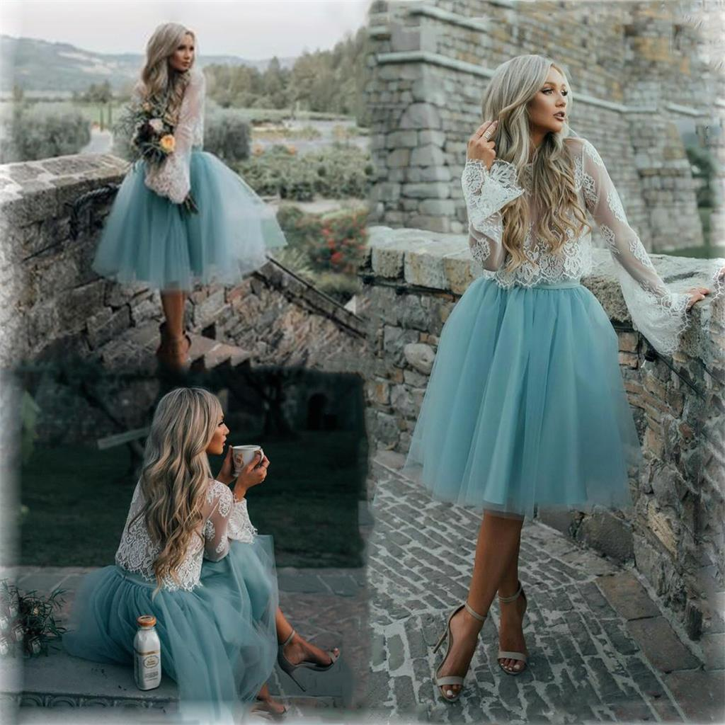 Cheap Tulle and Lace Two Pieces Blue Short Prom dress, Cocktail ...