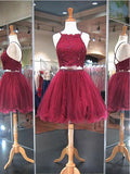 Sexy Burgundy Lace Beaded Cheap Short Homecoming Dresses Online, CM595