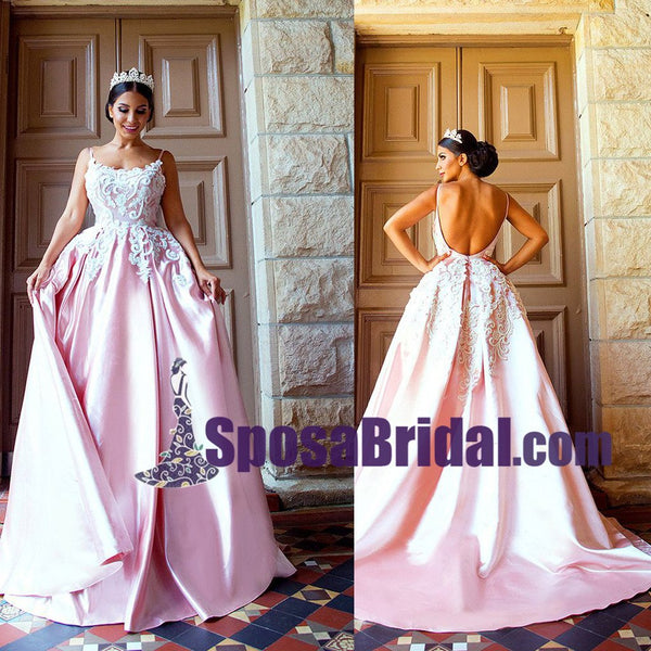 Spaghetti Straps Pink Long Satin Prom Dress with Lace appliques, Elegant Lovely Formal Wedding Dresses, WD0266