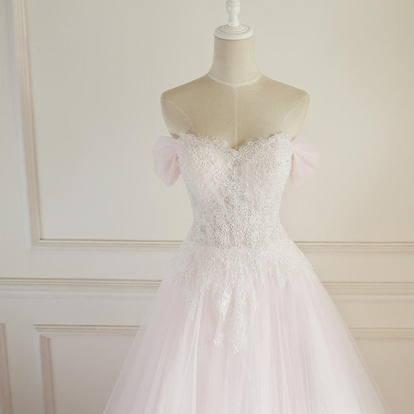 Strapless Pale Pink Long Custom Cheap Custom Wedding Dresses, WD308
