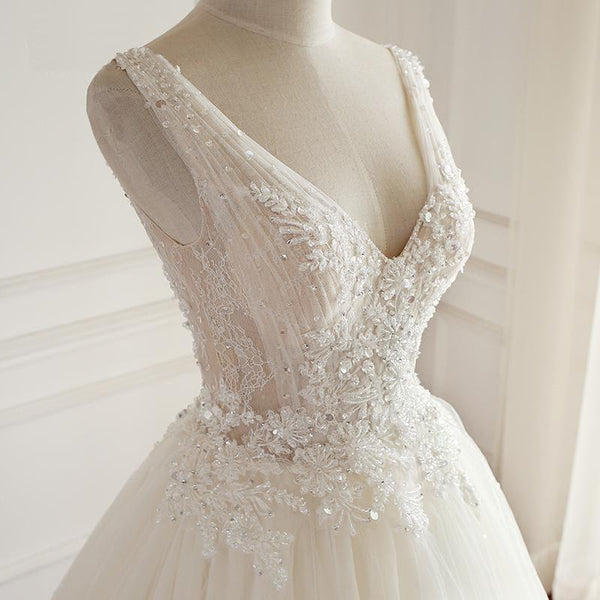 V Neck A-line Lace Long Custom Cheap Wedding Bridal Dresses, WD301
