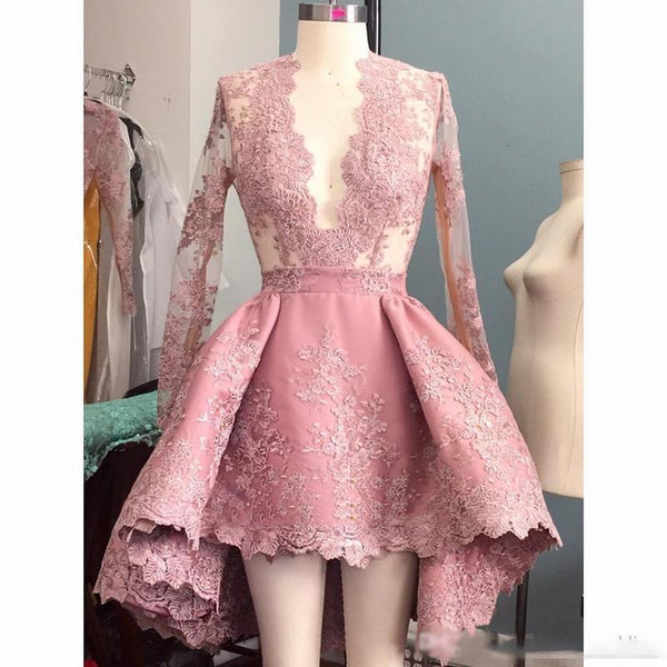 Charming Lace appliques High-Low Short Prom Dress, Pretty Lovely Long Prom Homecoming Dress, PD0387 - SposaBridal