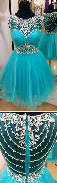 Short blue rhinestones sparkly Boho Vintage casual homecoming prom dress,BD0003