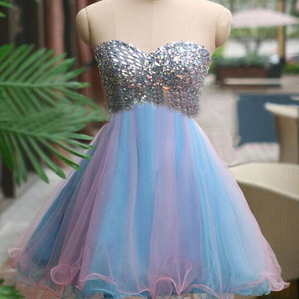 Rhinestones sparkly strapless unique sweetheart tight freshman homecoming prom dress,BD0005