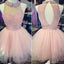 Pink high neck lace off shoulder high neck freshman homecoming prom dress,BD0007