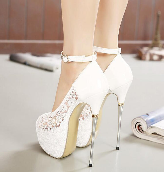 7f8b22e3c89 Super High Heels Fish Toe White Black Lace Sexy Wedding Bridal Shoes ...