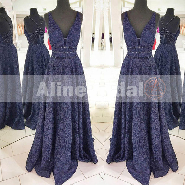 Gorgeous Navy Lace Sleeveless Beaded Strap Back A-line Prom Dresses,PD00077
