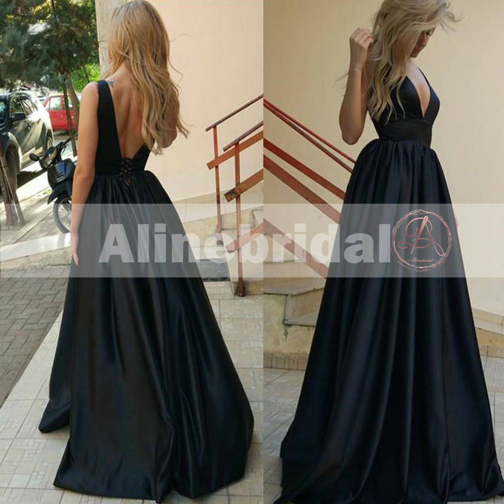 Formal Black Satin V-neck Sleeveless A-line Lace Up Back Charming  Prom Dresses,PD00079