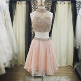 Popular dark pink two pieces sparkly Bohemian lovely homecoming dresses,BD00102