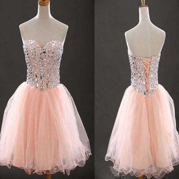 Strapless sweetheart peach pink lovely tight for teens casual homecoming dresses,BD00104