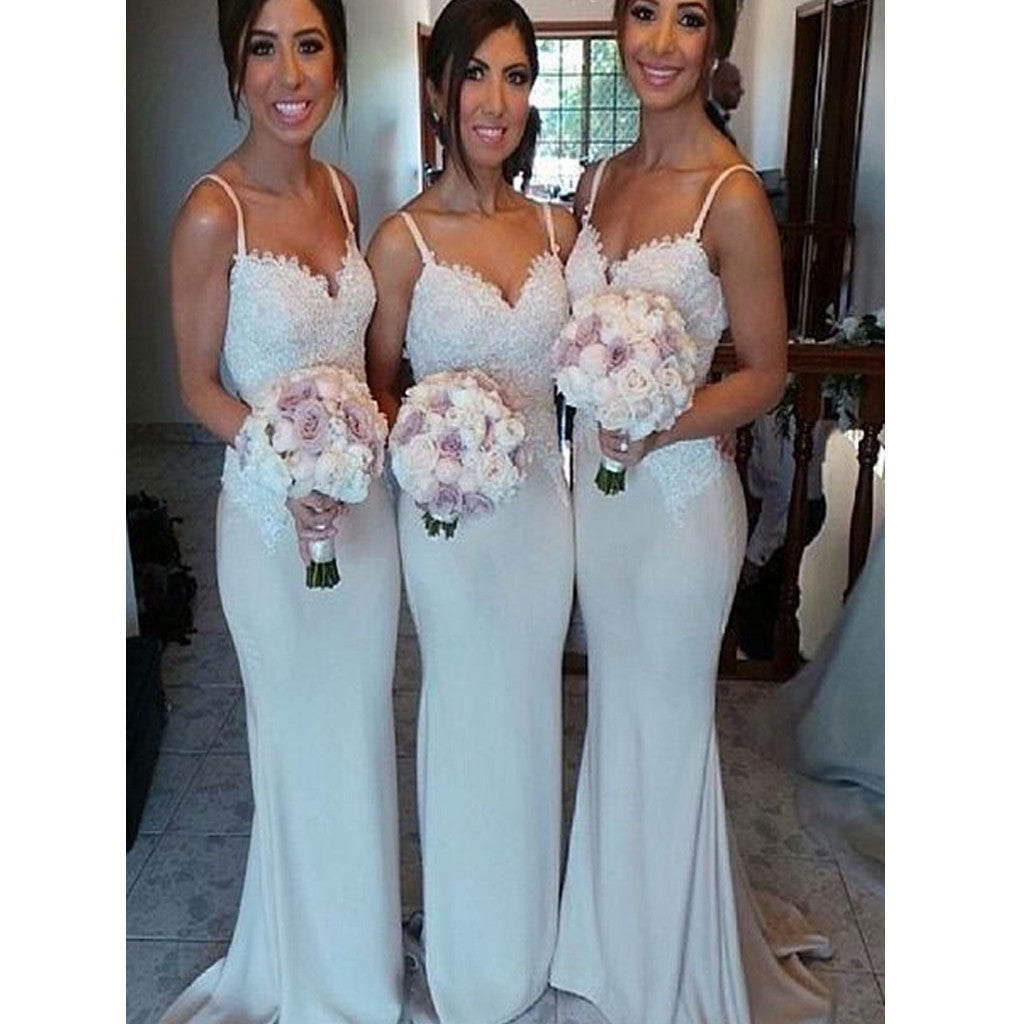Women Elegant Spaghetti Straps Mermaid Simple Long Wedding Party Dresses for Mother of Bride, WG151