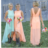 Simple Different Colors Cheap Chiffon High Low  Empire Waist for Pregnant Floor-Length Formal Bridesmaid Dresses, WG171