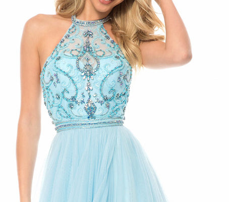 New Arrival Stunning Beaded Rhinestone Top Halter For Teens Prom Dresses,PD00084