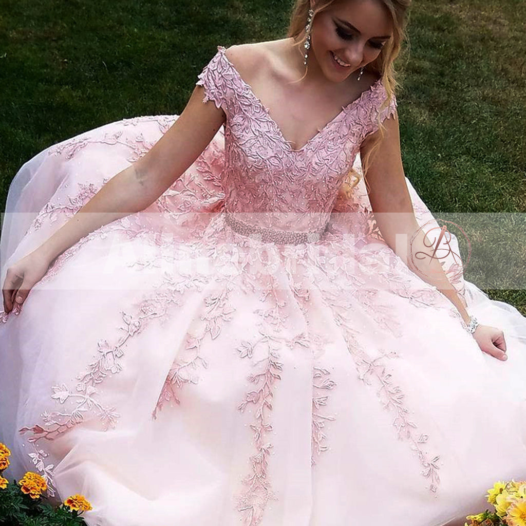 For Teens Pink Lace Appliques Off Shoulder With Beaded Sash A-line Prom Dresses,PD00082