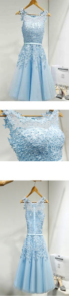 Light blue appliques lace see through lovely freshman homecoming dresses,BD00109