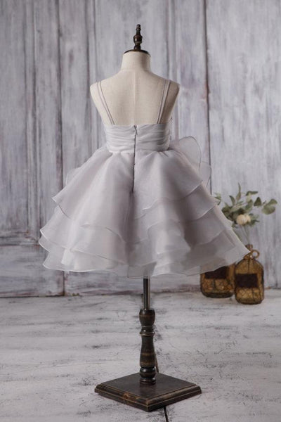 Cute Light Grey Organza Bustled Flower Little Girl Dresses, Cheap Flower Girl Dresses, FG057