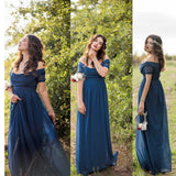 Short Sleeve Simple Off Shoulder Chiffon Navy Cheap Poplar Wedding Bridesmaid Dress. AB1151