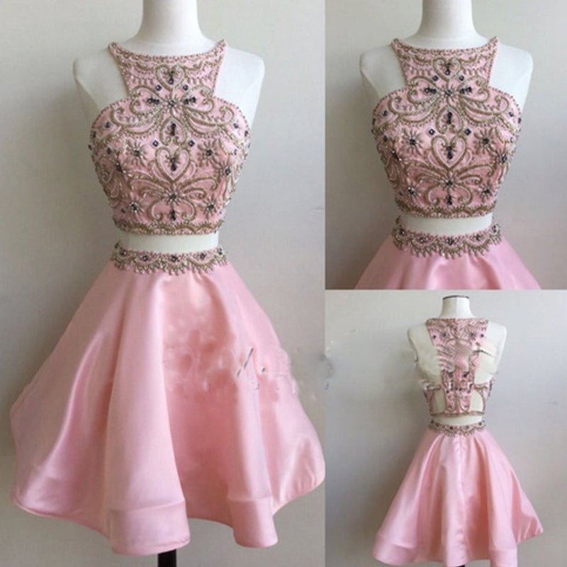 Popular pink Stunning Two pieces unique style cocktail homecoming dresses,BD00113