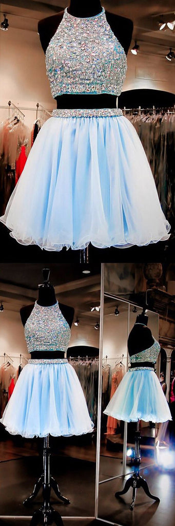 New Arrival two pieces halter sparkly backless crop tops freshman homecoming dresses,BD00116