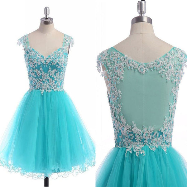 New Arrival blue see through tulle cap sleeve cute casual cocktail freshman homecoming dresses,BD00118
