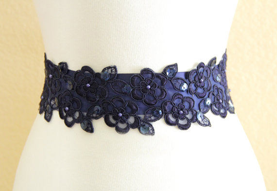 Navy Blue Sash, Elegant Girl Sash, Simple Bridesmaids Sash,Beautiful Lace Appliques Beading Sash, SA0011