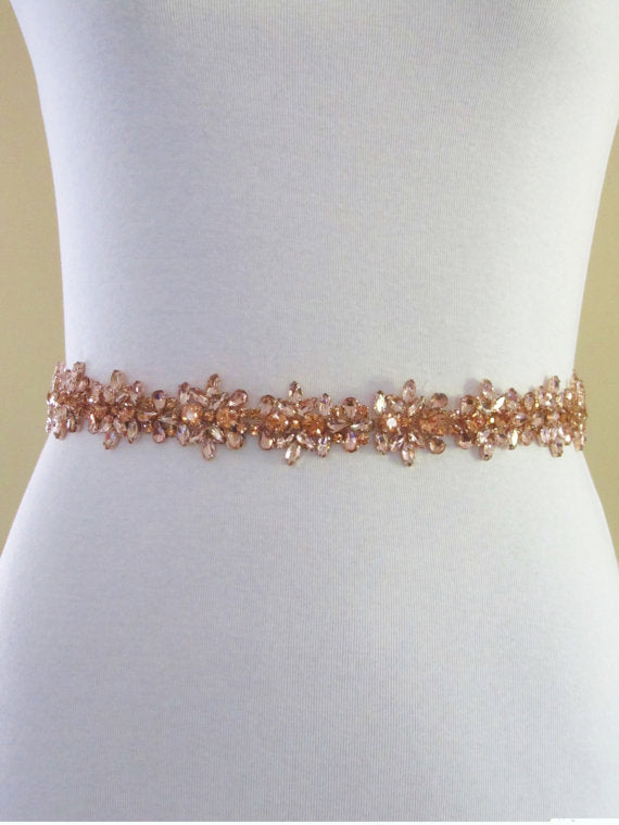Bridal Belt,Wedding Belt,Rose Gold Crystal Rhinestone Belt,Gorgeous Beading Belt, SA0022