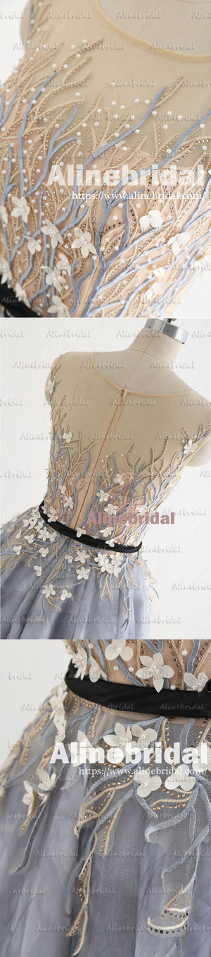 Stunning Gorgeous Beading Handmade Flowers Appliques Prints Long Prom Dresses,PD00043