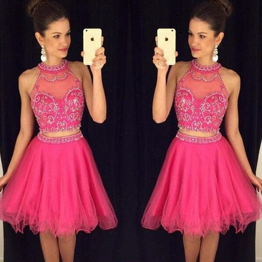 Popular rose red two pieces sparkly Crop Tops freshman for teens homecoming dresses,BD00124