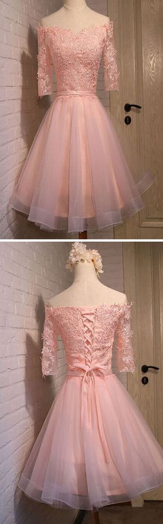 pink lace off shoulder with half sleeve cute freshman graduation homecoming dresses,BD00125
