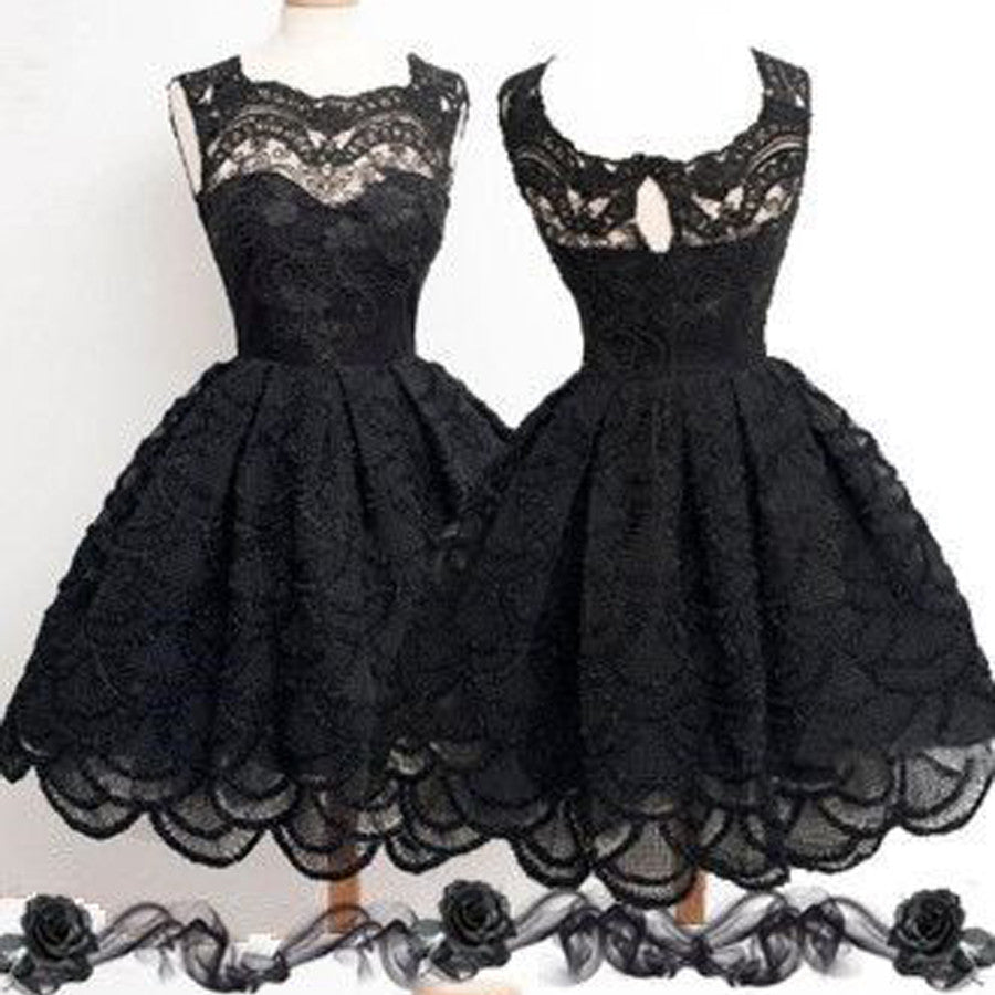 2018 Black lace simple modest vintage freshman homecoming dresses, BD00129