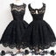 Black lace simple modest vintage freshman homecoming dresses, BD00129