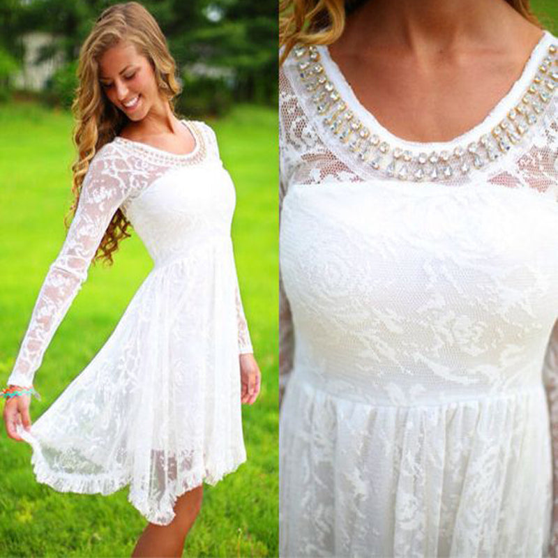 Long sleeve white see through lace simple beaded cheap homecoming dresses,BD00134