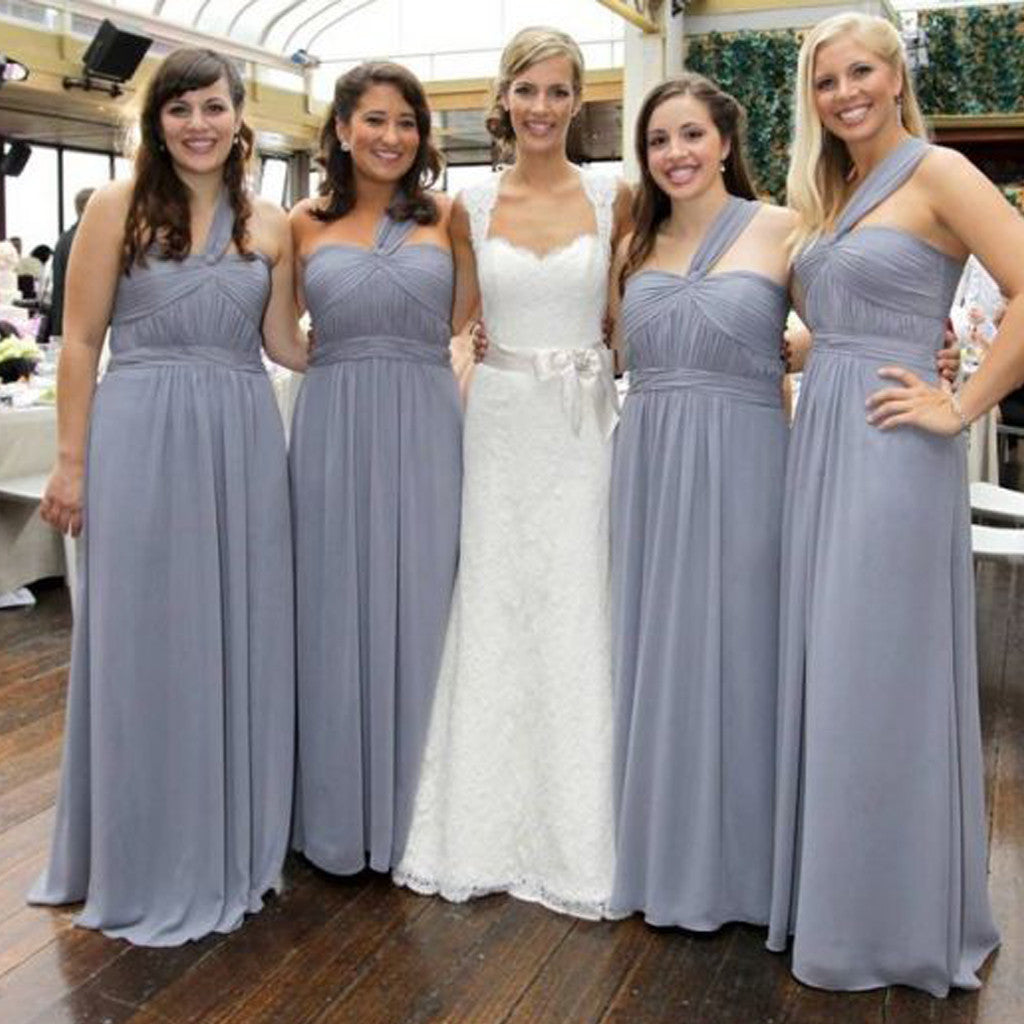 Cheap Simple Formal Chiffon One Shoulder Floor-Length A Line Maxi Bridesmaid Dresses, WG136