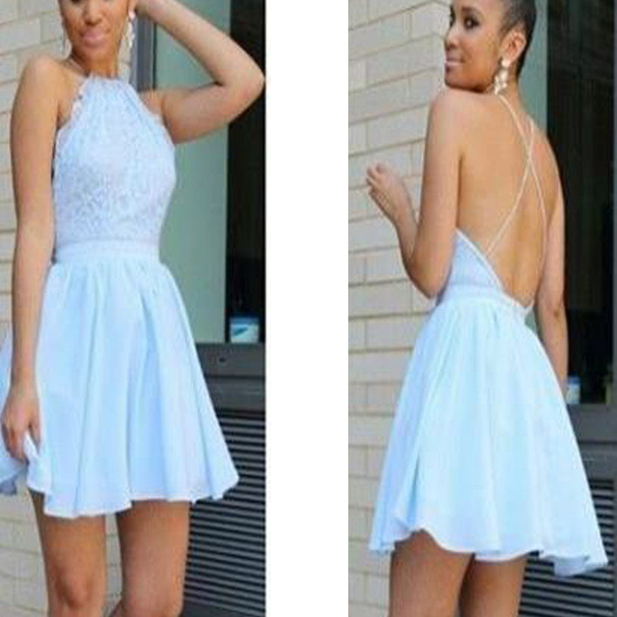 Popular baby blue open back halter sexy unique style freshman homecoming prom dresses, BD00139