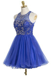 Royal Blue Sexy Open back Halter Beaded homecoming prom dresses, CM0021