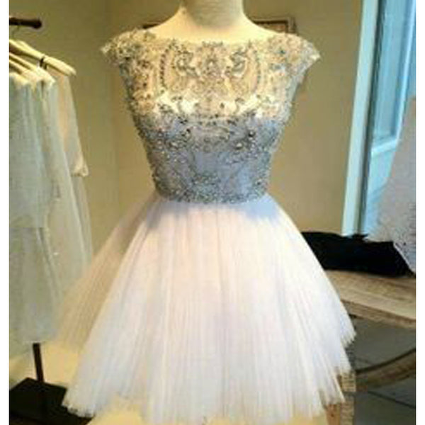 Lovely Junior Cap Sleeve Sparkly Beading Top Round Neck Mini For Teens Homecoming Prom Dresses, BD00140